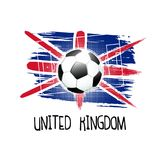 Hand written word `United Kingdom` with soccer ball, soccer field and abstract colors of the United Kingdom flag. Vector illustration Royalty Free Stock Images