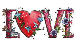 Hand written word Watercolor romantic illustration. Watercolor hand drawn romantic illustration. Banner.  Hand written word `Love` with flowers and birds. For Royalty Free Stock Photography