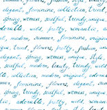 Hand written words - fashion and beauty text. Seamless pattern Royalty Free Stock Photo