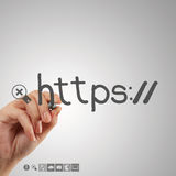 Hand writting http as internet Stock Photos