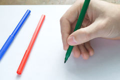 Hand writting on white sheet Stock Image