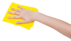 Hand with yellow dusting rag isolated on white Stock Images