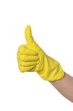 Hand in yellow glove Royalty Free Stock Photo