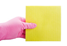 Hand in yellow glove with sponge Royalty Free Stock Photo