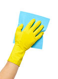 Hand in yellow glove with sponge Royalty Free Stock Photography