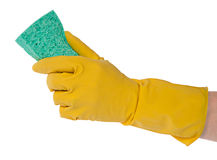 Hand in yellow glove with sponge isolated on white Stock Photography