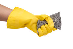 Hand in yellow glove with sponge  on white background Royalty Free Stock Images