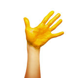 Hand in yellow paint Royalty Free Stock Photo