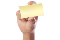 Hand With Yellow Sticky Note Stock Photos