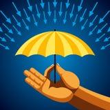 Hand with yellow umbrella, Stock Image