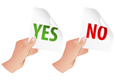 Hand with Yes and No Signs Stock Photo