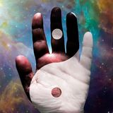 Hand Yin Yang. Palm Hand with Yin Yang Sign in Vivid Space. Human elements were created with 3D software and are not from any actual human likenesses vector illustration