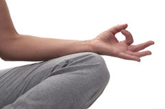 Hand yoga. Yoga hands with white background Stock Photos