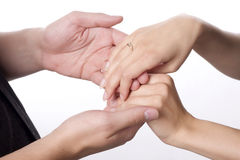 Hand of young couple Royalty Free Stock Photography