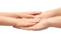 Hand of young girl holding kids hand. Isolated on white background.  royalty free stock images