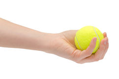 Hand of young girl holding tennis ball. Stock Images