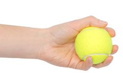 Hand of young girl holding tennis ball. Royalty Free Stock Images