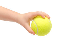 Hand of young kid holding tennis ball. Isolated on white background Royalty Free Stock Image