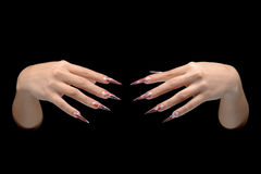 Hand of young woman with manicure on nails Stock Photography