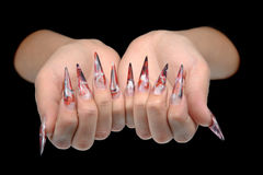 Hand of young woman with manicure on nails Royalty Free Stock Image