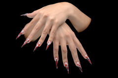 Hand of young woman with manicure on nails Stock Image