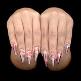 Hand of young woman with manicure on nails Stock Images