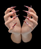 Hand of young woman with manicure on nails Royalty Free Stock Photography