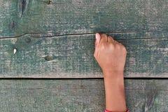 Hand, Zahlen und Holz Stockbild