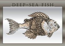Hand-zeichnen Sie von den fantastischen Fischen Lizenzfreie Stockfotos