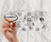 Hand-Zeichnungs-Social Media-Ikone mit zerknittert bereiten Papier-backg auf lizenzfreie stockfotografie