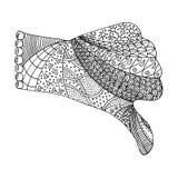Hand zentangle en zendoodle vector Wapen zenart Vuist zen krabbel en zen verwarring stock illustratie