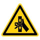 Hand zerquetschen Kraft vom Spitzen- und unteren Symbol-Zeichen-Isolat auf wei?em Hintergrund, Vektor-Illustration stock abbildung