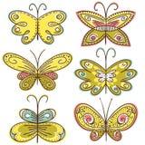 Hand zes trekt vlinders, vector Royalty-vrije Stock Foto's