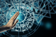 Future and leo concept. Hand with zodiac sign horoscope circle. Future and leo concept royalty free stock image