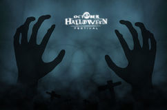 Hand zombie hallloween background Royalty Free Stock Photo