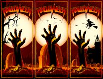 Zombie Hand Cemetery Halloween Vintage Background Horror Print F. Hand of zombie raised up from grave on a cemetery with an abandoned hut and witch flies on a Royalty Free Stock Image