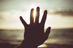 Hand zur Sonne Element des Designs, Weinlesetonfarbe Lizenzfreies Stockbild