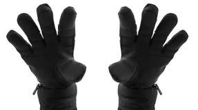 Hand zwei in den schwarzen Handschuhen Stockfotografie