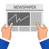 Hand zwei, die eine Zeitung hält Auch im corel abgehobenen Betrag Lizenzfreies Stockfoto