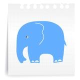 Blauer Elefant auf Papieranmerkung lizenzfreie abbildung