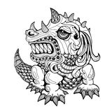 Handabgehobener betrag des Drachen in zentangle Art Stockfoto
