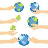 Handabwehr die Welt und die Umwelt Stockfoto