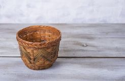 Handamade wood plant basket for flowers at home.  royalty free stock photos