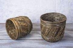 Handamade wood plant basket for flowers at home.  stock photos