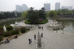 Chinese city of Handan, Hubei. Handan is an old city in Hubei, China. It has very bad air pollution. It has smog every day stock photo