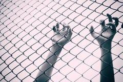 Handanziehender Maschenkäfig Der Gefangene wünschen Freiheit lizenzfreies stockbild