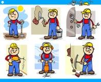 Handarbeiders of werkliedenset van tekens Stock Afbeelding