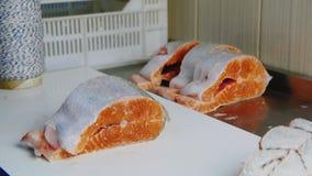 Handarbeit an der Fischfabrik Die Hände einer Frau verarbeiten die Karkassen von roten Fischen, eingewickelt mit Seil für stock video footage