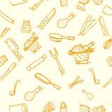 Handattraktion skissar sömlös bakgrund, kocken Ware, för tapet, bakgrund, inpackningspapper eller annat royaltyfri illustrationer