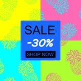 Handattraktionananas Sale - 30% på den tropiska ananasen för sömlös modell för olik design: affisch kort, royaltyfri illustrationer